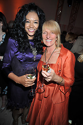 Left to right, Mobo Awards founder KANYA KING and DAWN GIBBONS at the presentation of the Veuve Clicquot Business Woman Award 2009 hosted by Graham Boyes MD Moet Hennessy UK and presented by Sir Trevor Macdonald at The Saatchi Gallery, Duke of York's Square, Kings Road, London SW1 on 28th April 2009.