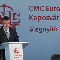 Laszlo Palkovics Minister of National Innovation and Technology for Hungary talks at the Inauguration ceremony of the 100MW capacity solar power plant bulit by Chinese construction company CMC in Kaposvar, Hungary on May 27, 2021. ATTILA VOLGYI