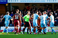Todays referee Anthony Backhouse sends off and gives a red card  to Bradford City midfielder Sean Scannell (7) during the EFL Sky Bet League 1 match between Bradford City and Sunderland at the Northern Commercials Stadium, Bradford, England on 6 October 2018.