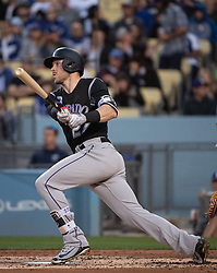 May 22, 2018 - Los Angeles, CA, U.S. - LOS ANGELES, CA - MAY 22: Colorado Rockies' Trevor Story (27) during a Major League Baseball game between the Colorado Rockies and the Los Angeles Dodgers on May 22, 2018 at Dodger Stadium in Los Angeles, CA. (Photo by Kyusung Gong/Icon Sportswire) (Credit Image: © Kyusung Gong/Icon SMI via ZUMA Press)