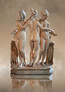 The Three Graces ( Les Trois Grâces ) A 1.19 metres high 2nd century Imperial Roman copy of a circa 330 BC Hellanistic Greek statue.  Found in the Villa Cornovaglia in Rome. Louvre Museum, Paris. Catalogue Number:Louvre Ma 287.<br /> The Three Graces are three nude females that in classic Hellanistic art they are depicted with two facing forward and the middle one facing away. The Three Graces, or Three Charities, of Greek mythology were Aglaia, Euphrosyne, and Thalia. They were the goddesses who symbolised joy, pleasure, grace, beauty, festivity, adornment, dance, and song. Daughters of Zeus and the sea-nymph Eurynome, they were also the attendants, or handmaidens, of Aphrodite and Hera and protectors of vegetation. .<br /> <br /> If you prefer to buy from our ALAMY STOCK LIBRARY page at https://www.alamy.com/portfolio/paul-williams-funkystock/greco-roman-sculptures.html- Type -    Louvre    - into LOWER SEARCH WITHIN GALLERY box - Refine search by adding a subject, place, background colour,etc.<br /> <br /> Visit our CLASSICAL WORLD HISTORIC SITES PHOTO COLLECTIONS for more photos to download or buy as wall art prints https://funkystock.photoshelter.com/gallery-collection/The-Romans-Art-Artefacts-Antiquities-Historic-Sites-Pictures-Images/C0000r2uLJJo9_s0c