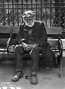 Bearded Man with Cap Sitting on the Bench, London, 1928