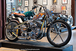 Atomic Trent Schara's Harley-Davidson Shovelhead on Sunday at the Handbuilt Motorcycle Show. Austin, TX. April 12, 2015.  Photography ©2015 Michael Lichter.