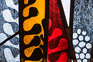 Stained glass depicting different designs at Zion Lutheran Church, Belleville, Ill., on Wednesday, Feb. 10, 2021. LCMS Communications/Erik M. Lunsford