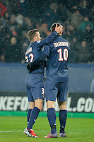 FOOTBALL - FRENCH CHAMPIONSHIP 2012/2013 - L1 - PARIS SAINT GERMAIN v OLYMPIQUE MARSEILLE - 24/02/2013 - PHOTO JEAN MARIE HERVIO / REGAMEDIA / DPPI - JOY DAVID BECKHAM WITH ZLATAN IBRAHIMOVIC (PSG) AFTER THE 2ND GOAL OF PSG