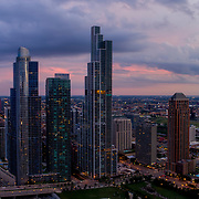 Recently completed NEMA Chicago Tower at the South Loop/Near South Side, Chicago, Illinois. 2019.