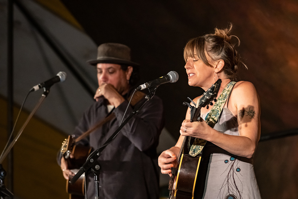 Danny Schmidt and Carrie Elkin perform at the 2019 High Mountain Hay Fever Bluegrass Festival.