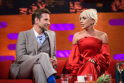 Bradley Cooper and Lady Gaga during the filming of the Graham Norton Show at BBC Studioworks 6 Television Centre, Wood Lane, London, to be aired on BBC One on Friday evening.