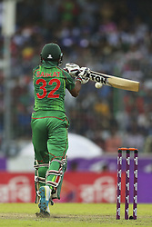 October 9, 2016 - Dhaka, Bangladesh - Bangladesh's Mosaddek Hossain makes a shot during the second one day international cricket match against England in Dhaka, Bangladesh, Friday, Oct. 9, 2016. (Credit Image: © Ahmed Salahuddin/NurPhoto via ZUMA Press)
