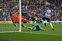 Football - 2019 / 2020 Premier League - Brighton & Hove Albion vs. Tottenham Hotspur<br /> <br /> Aaron Connolly of Brighton pounces on the loose ball to put Brighton two up at The Amex Stadium Brighton <br /> <br /> COLORSPORT/SHAUN BOGGUST