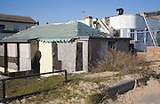 Building repairs taking place on housing, Jaywick, Essex, England