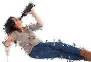 Digitally enhanced image of a young woman prefers drinking her red wine straight out of the bottle for quicker and cleaner results studio shot on white background