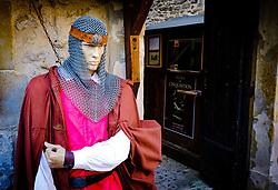 Entrance to the Musee de L'inquisition in the medieval  Cité de Carcassonne, France<br /> <br /> (c) Andrew Wilson | Edinburgh Elite media