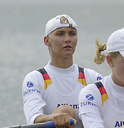 2002 FISA World Cup. Hazewinkel. BEL.       Friday  14/06/2002     [Mandatory Credit: Peter Spurrier/Intersport Images]  .                                 /06/2002.Rowing. GER W4X Bow. Peggy Waleska Rowing, FISA WC.Hazenwinkel, BEL