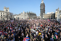 © Licensed to London News Pictures. 29/03/2019. London, UK. Anti Brexit demonstrators fill  Parliament Square after MPs voted against the Withdrawal Agreement in the House of Commons. Photo credit: Peter Macdiarmid/LNP