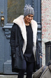 """Jennifer Lopez bundles up while filming scenes for her upcoming project """"Second Act"""" in Williamsburg, Brooklyn. Leah Remini is also pictured on set. 26 Oct 2017 Pictured: Jennifer Lopez. Photo credit: LRNYC / MEGA TheMegaAgency.com +1 888 505 6342"""