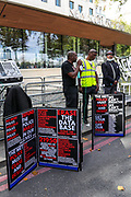 """Stafford Scott (centre) speaks outside New Scotland Yard in London, on Sept 12, 2020 - as part of an anti-racism demonstration calling for Metropolitan police commissioner Cressida Dick to resign.<br /> Demonstrators gathered to denounce the """"over-policing of black communities"""" through tactics including stop and search and police use of stun guns. The Metropolitan police commissioner Dame Cressida Dick is facing calls to step down from Black Lives Matter activists who say she has """"failed to acknowledge"""" racism within the force. (VXP Photo/ Vudi Xhymshiti)"""