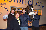 19th March 2016, Gordon Elliott trained Don Cossack homecoming to Summerhill<br /> Marie O`Shea pictured with Gordon Elliott, Bryan Cooper, Don Cossack & Louise Dunne<br /> Photo: David Mullen /www.cyberimages.net / 2016