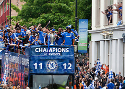 © Licensed to London News Pictures. 20/05/2012. London, U.K..Chelsea FC, Campions league Winners celebration on the open top buses along the Fulham Rd, and the Kings road in Chelsea, london, today 20th may 2012, after winning the champions leave final against Bayen Munich yesterday night in Germany..Photo credit : Rich Bowen/LNP