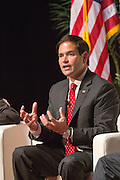 Senator and GOP presidential candidate Marco Rubio answers a question during Tim's Presidential Town Hall meeting at the Performing Arts Center August 7, 2015 in North Charleston, SC. The event showcases republican candidates in a town hall style meetings hosted by Sen. Tim Scott and Rep. Trey Gowdy.
