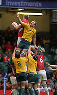 Bradley Davies of Wales claims a lineout ball from Australia's Rocky Elsom. Invesco Perpetual series, autumn international, Wales v Australia at the Millennium Stadium in Cardiff on Sat 6th Nov 2010.  pic by Andrew Orchard, Andrew Orchard sports photography,