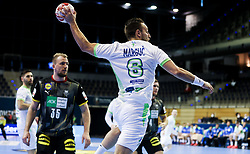 Gasper Marguc of Slovenia during handball match between National Teams of Germany and Slovenia at Day 2 of IHF Men's Tokyo Olympic  Qualification tournament, on March 13, 2021 in Max-Schmeling-Halle, Berlin, Germany. Photo by Vid Ponikvar / Sportida