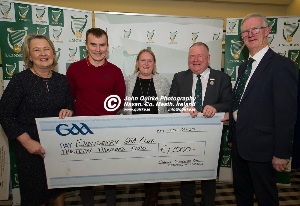 20-01-20. Leinster GAA Club Development Grant Cheque Presentations (See Press Release) at Aras Laighean, Portlaoise.<br /> GAA National Finance Manager Kathy Slattery and Jim Bolger (2nd. Right), Cathoirleach, Comhairle Laighean pictured presenting a cheque for €13,000 to Edenderry GAA Club. Co. Offaly represented by from left, Keith McGuinness, Chairperson. Angela Delaney, P.R.O and Pat Teehan, Leas Cathoirleach, Leinster GAA.<br /> Photo: John Quirke / www.quirke.ie<br /> ©John Quirke Photography, Unit 17, Blackcastle Shopping Cte. Navan. Co. Meath. 046-9079044 / 087-2579454.