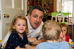 Pictured: Alex Cole-Hamilton, Scottish Liberal Democrat candidate for Edinburgh Western and Halle Dowds-Ramsey (two)<br /> <br /> Scottish Liberal Democrat leader Willie Rennie marked the first full day of campaigning for the Scottish Election by visiting  the New Town Nursery in Edinburgh. He was joined by Edinburgh Western candidate Alex Cole-Hamilton as the children were enjoying a lively morning<br /> <br /> Ger Harley | EEm 23 March 2016