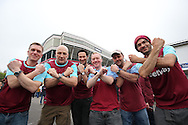 West Ham United fans pose with Irons outside Boleyn Ground before k/o. scenes around the Boleyn Ground, Upton Park in East London as West Ham United play their last ever game at the famous ground before their move to the Olympic Stadium next season. Barclays Premier league match, West Ham Utd v Man Utd at the Boleyn Ground in London on Tuesday 10th May 2016.<br /> pic by John Patrick Fletcher, Andrew Orchard sports photography.