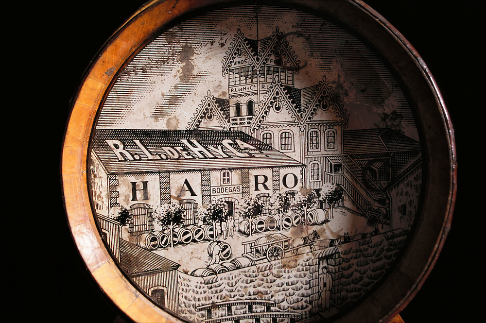 Detail of a 50th anniversary wine barrel at R. Lopez Heredia winery in Haro. (Located in the railway district on the edge of Haro.) La Rioja, Spain.