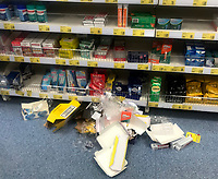 Uk Supermarkets are asking  shoppers to be 'considerate' and stop stockpiling as the   coronavirus death toll rises photo in aldi stratford upon avon photo by Mark anton smith