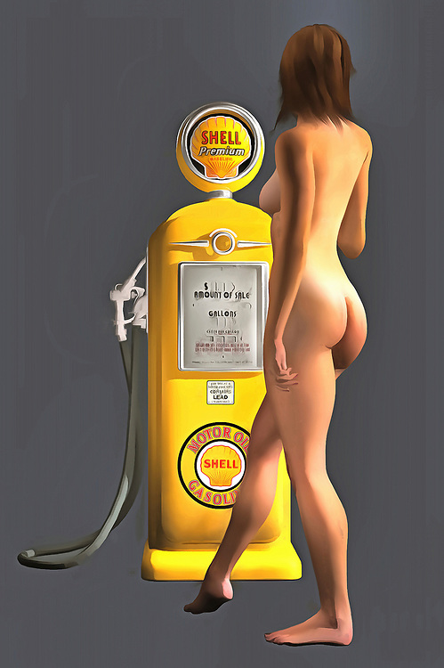 Combining an iconic Shell gas station pump with a beautiful, nude woman, this fine art piece is a truly fascinating approach to pop art. The level of detail in this piece is simply astonishing, particularly in terms of the Shell Gasoline pump. The striking yellow of the gas pump is also worth appreciating. This is certainly true when you compare that yellow to the blank backdrop. The woman is facing away from us, so we can't be certain what she might be thinking. Even so, this woman is clearly enthralled with the gas pump. You can imagine this piece in any space you want. .<br /> <br /> BUY THIS PRINT AT<br /> <br /> FINE ART AMERICA<br /> ENGLISH<br /> https://janke.pixels.com/featured/shell-pump-jan-keteleer.html<br /> <br /> WADM / OH MY PRINTS<br /> DUTCH / FRENCH / GERMAN<br /> https://www.werkaandemuur.nl/nl/shopwerk/Pop-Art---Shell-Pomp/437986/134
