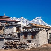 Mounts Everest & Lhotse behind Tengboche Monastery in the Khumbu region of Nepal 1986.
