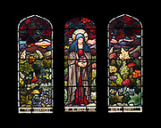 """Window 11 on plan. 55"""" w x 48.5"""" h. inc. wood frame.  <br /> <br /> The quotation is from 1 Peter 3:4, regarding the obedience of wives.<br /> <br /> Saint Mary's by-the-Sea, Northeast Harbor, Maine."""