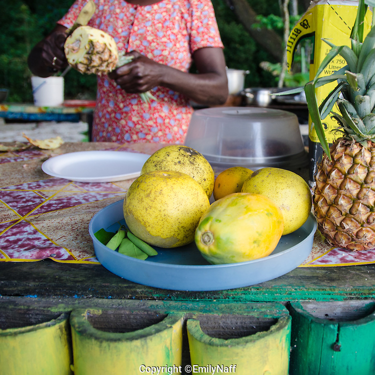 Fresh fruit for sale on Winnifred Beach in Portland, Jamaica.