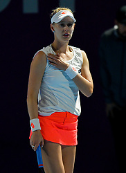 DOHA, Feb. 14, 2019  Alison Riske of the United States reacts during the women's singles second round match between Alison Riske of the United States and Julia Goerges of Germany at the 2019 WTA Qatar Open in Doha, Qatar, Feb. 13, 2019. Alison Riske lost 1-2. (Credit Image: © Nikku/Xinhua via ZUMA Wire)