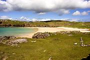 Oldshorebeg beach, with walkers, Sutherland, Highland.