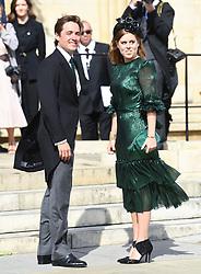 Princess Beatrice and husband Jack Brooksbank arriving at the wedding of Ellie Goulding and Casper Jopling, York Minster. Photo credit should read: Doug Peters/EMPICS