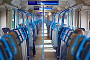 London Thameslink train towards the Gatwick airport is seen nearly empty as the country is in lockdown to help curb the spread of the coronavirus, Monday, April 6, 2020. (Photo/Vudi Xhymshiti)