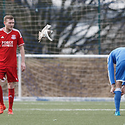 Benburb v Glenafton. The players had a close encounter with a dove at New Tinto Park, Glasgow during the West of Scotland Cup match. Picture Robert Perry 27th Feb 20<br /> <br /> Please credit photo to Robert Perry<br /> <br /> FEE PAYABLE FOR REPRO USE<br /> FEE PAYABLE FOR ALL INTERNET USE<br /> www.robertperry.co.uk<br /> NB -This image is not to be distributed without the prior consent of the copyright holder.<br /> in using this image you agree to abide by terms and conditions as stated in this caption.<br /> All monies payable to Robert Perry<br /> <br /> (PLEASE DO NOT REMOVE THIS CAPTION)<br /> This image is intended for Editorial use (e.g. news). Any commercial or promotional use requires additional clearance. <br /> <br /> Copyright 2016 All rights protected.<br /> first use only<br /> contact details<br /> Robert Perry     <br /> 07702 631 477<br /> robertperryphotos@gmail.com<br />   <br /> Robert Perry reserves the right to pursue unauthorised use of this image . If you violate my intellectual property you may be liable for  damages, loss of income, and profits you derive from the use of this image.