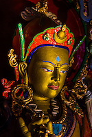 Statues, Stok Monastery, Leh Valley, Ladakh, Jammu and Kashmir State, India.