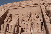 Temple of King Rameses II in Abu Simbel, Nubia, Egypt. Moved up from the water's edge in 1964 to prevent being innundated by Lake Nasser