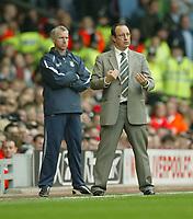 Photo: Aidan Ellis.<br /> Liverpool v West Ham Utd. The Barclays Premiership.<br /> 29/10/2005.<br /> Liverpool manager Raphael Benitez and West Ham's Alan Pardew