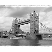 Tower Bridge - London, UK - Artist Designed Custom Border - Black & White