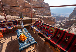 Small outdoor cafe beside path leading to The Monastery high above Petra in Jordan, Middle East. UNESCO World Heritage Site