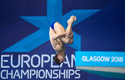 Russia's Aleksandr Bondar competing in the Men's 10m Platform Final during day eleven of the 2018 European Championships at the Royal Commonwealth Pool, Edinburgh. PRESS ASSOCIATION Photo. Picture date: Sunday August 12, 2018. See PA story DIVING European. Photo credit should read: Ian Rutherford/PA Wire. RESTRICTIONS: Editorial use only, no commercial use without prior permission