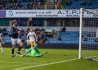Football - 2018 / 2019 FA Cup - Third Round: Millwall vs. Hull City<br /> <br /> Aiden O'Brien (Millwall FC) sees his flick rise too high and hit the cross bar  at The Den.<br /> <br /> COLORSPORT/DANIEL BEARHAM