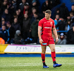 Owen Farrell of Saracens<br /> <br /> Photographer Simon King/Replay Images<br /> <br /> European Rugby Champions Cup Round 4 - Cardiff Blues v Saracens - Saturday 15th December 2018 - Cardiff Arms Park - Cardiff<br /> <br /> World Copyright © Replay Images . All rights reserved. info@replayimages.co.uk - http://replayimages.co.uk