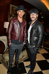 Left to right, LEWIS HAMILTON and JEREMY PIVEN at the London launch of Casamigos Tequila hosted by Rande Gerber, George Clooney & Michael Meldman and to celebrate Cindy Crawford's new book 'Becoming' held at The Beaumont Hotel, Brown Hart Gardens, 8 Balderton Street, London on 1st October 2015.