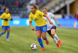 February 27, 2019 - Chester, PA, U.S. - CHESTER, PA - FEBRUARY 27: Brazil Defender Monica (21) carries the ball in the first half during the She Believes Cup game between Brazil and England on February 27, 2019 at Talen Energy Stadium in Chester, PA. (Photo by Kyle Ross/Icon Sportswire) (Credit Image: © Kyle Ross/Icon SMI via ZUMA Press)